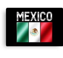 Mexico - Mexican Flag & Text - Metallic Canvas Print