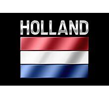 Holland - Dutch Flag & Text - Metallic Photographic Print