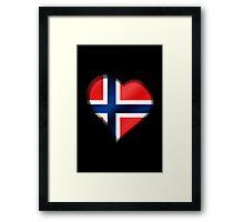 Norwegian Flag - Norway - Heart Framed Print
