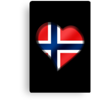 Norwegian Flag - Norway - Heart Canvas Print