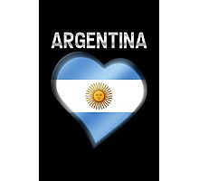 Argentina - Argentine Flag Heart & Text - Metallic Photographic Print