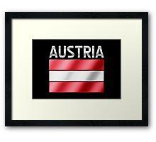 Austria - Austrian Flag & Text - Metallic Framed Print
