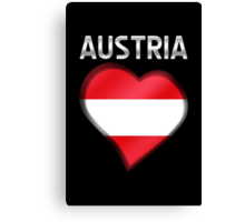 Austria - Austrian Flag Heart & Text - Metallic Canvas Print