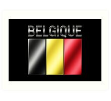 Belgique - Belgian Flag & Text - Metallic Art Print