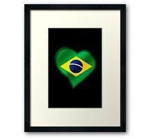 Brazilian Flag - Brazil - Heart Framed Print