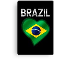 Brazil - Brazilian Flag Heart & Text - Metallic Canvas Print