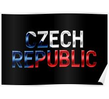 Czech Republic - Czech Flag - Metallic Text Poster