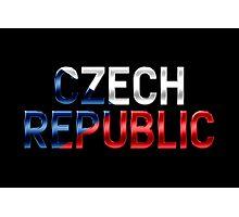 Czech Republic - Czech Flag - Metallic Text Photographic Print