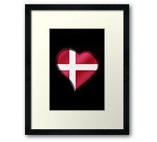 Danish Flag - Denmark - Heart Framed Print