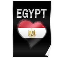 Egypt - Egyptian Flag Heart & Text - Metallic Poster