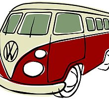 VW Type 2 bus red by car2oonz