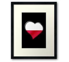 Polish Flag - Poland - Heart Framed Print