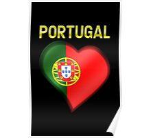 Portugal - Portuguese Flag Heart & Text - Metallic Poster