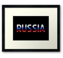 Russia - Russian Flag - Metallic Text Framed Print