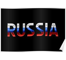 Russia - Russian Flag - Metallic Text Poster