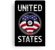 United States - American Flag - Football or Soccer Ball & Text Canvas Print