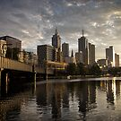 Dawn on yesterday's tomorrow - Sunrise, Southbank Melbourne by Norman Repacholi