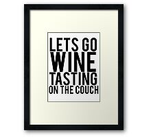 Wine Tasting On The Couch Framed Print