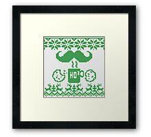 Santa's Stache Over Green Midnight Snack Knit Style Framed Print