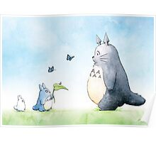 Totoro with Butterflies  Poster
