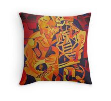 A Skeleton and A Corpse Embracing Death Throw Pillow