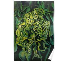 A Skeleton Embracing A Zombie Halloween Horror Poster