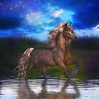 Horse in Lake, tote, pillow, case by LoneAngel