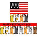 Happy Birthday Son with American flag. by KateTaylor