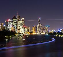 Brisbane City Light Trails by LizSB