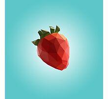 Polygon Strawberry Photographic Print