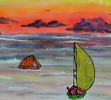 Sailing before the storm by George Hunter