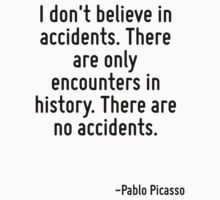 I don't believe in accidents. There are only encounters in history. There are no accidents. by Quotr