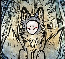 Three Tails - Kitsune Fox Yokai  by TeaKitsune