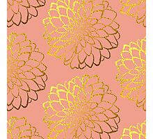 Dahlia on melon and gold pattern design Photographic Print