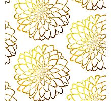 Dahlia gold foil pattern on white  Photographic Print