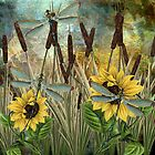 DRAGONFLIES AND SUNFLOWERS by Tammera