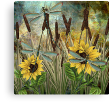 DRAGONFLIES AND SUNFLOWERS Canvas Print