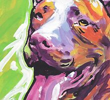 Pitbull Dog Bright colorful pop dog art by bentnotbroken11