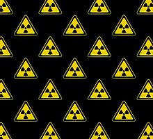 Radioactive Symbol Warning Sign - Radioactivity - Radiation - Yellow & Black - Triangular - Tiled by graphix