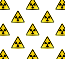 Radioactive Symbol Warning Sign - Radioactivity - Radiation - Yellow & Black - Triangular - Tiled Sticker