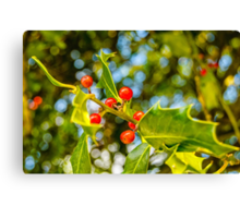 Holly, berries & bokeh Canvas Print
