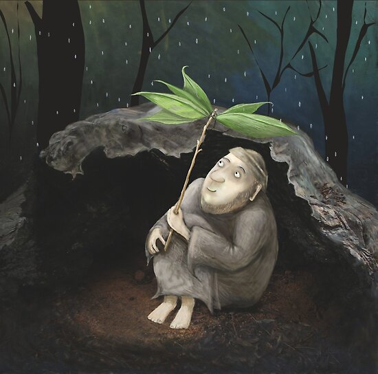 He shelters from the Rain by fizzyjinks