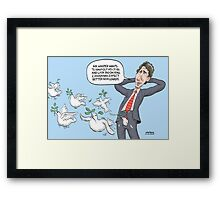 Justin Trudeau Peace Dove Fly Framed Print