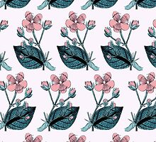 Flower Blossom, Petals, Leaves - Green Pink by sitnica