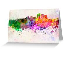 Louisville skyline in watercolor background Greeting Card