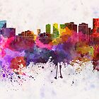 Fort Worth skyline in watercolor background by paulrommer