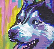Siberian Husky Bright colorful pop dog art by bentnotbroken11