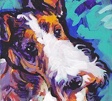 Wire Fox Terrier Bright colorful pop dog art by bentnotbroken11