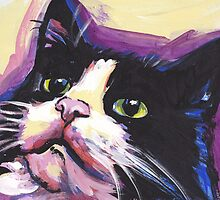 Tuxedo Cat Bright colorful pop kitty art by bentnotbroken11