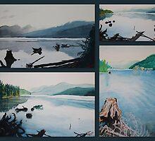 oakridge reservoir collage of watercolor paintings by Dawna Morton